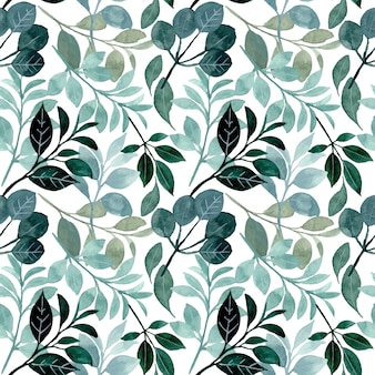 Seamless pattern green foliage with watercolor