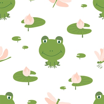 Seamless pattern of green frogs with dragonflies and lilies on a white background. ideal for baby fabric, home decor, and wrapping paper.