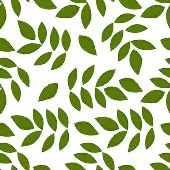 원활한 패턴 녹색 잎 평면 벡터 템플릿