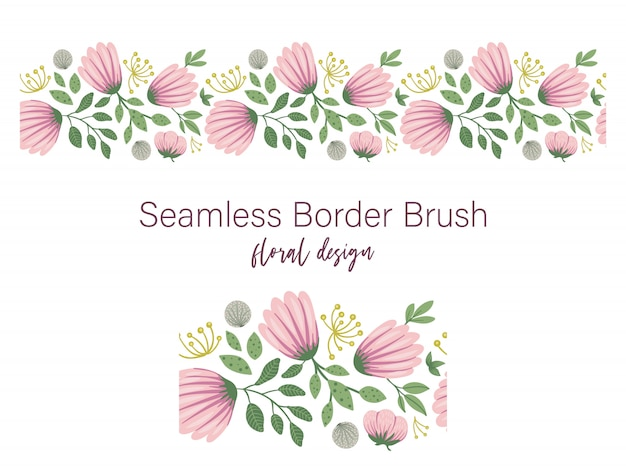 Seamless pattern of green leaves with pink flowers and dandelions. floral border ornament. trendy flat illustration