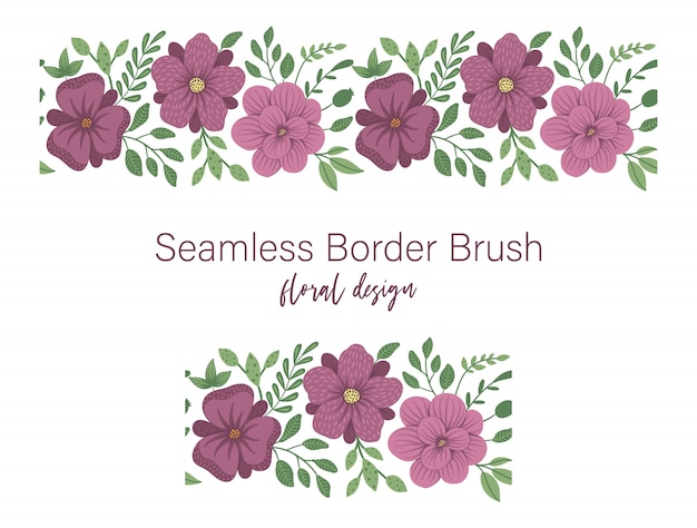 Seamless pattern of green leaves with purple flowers. floral border ornament. trendy flat illustration