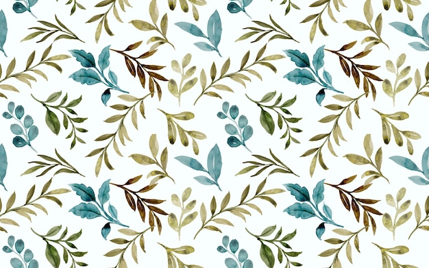 Seamless pattern of green leaves with watercolor