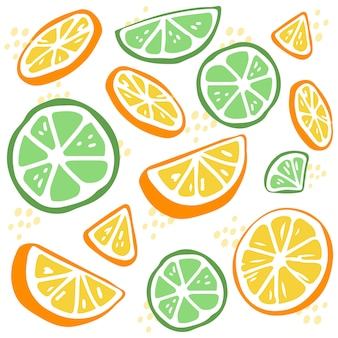 The seamless pattern of green lime and yellow lemon. the part of lemon and lime.