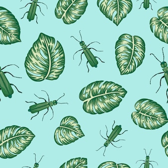 Seamless pattern of green monstera leaves with tropic bugs on blue background. exotic jungle wallpaper