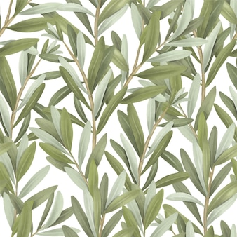 Seamless pattern of green olive tree branches hand drawn illustration on white background
