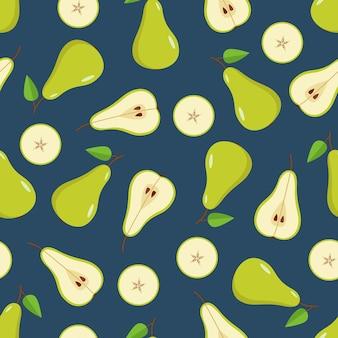 원활한 패턴 녹색 배는 전체, 절반 및 배 슬라이스입니다. 잘 익은 달콤한 과일 배의 벡터 그림입니다.
