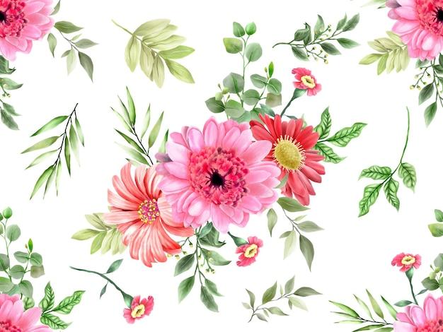 Бесшовный фон зелень цветочный дизайн