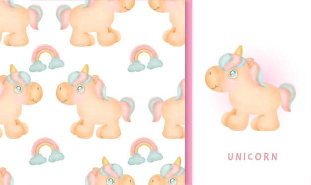 Seamless pattern and greeting card with cute unicorn.