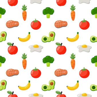 Seamless pattern grocery food icons isolated on white background.