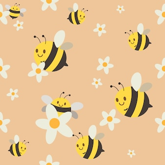 A seamless pattern of group of cute chatacter bee flying on orange