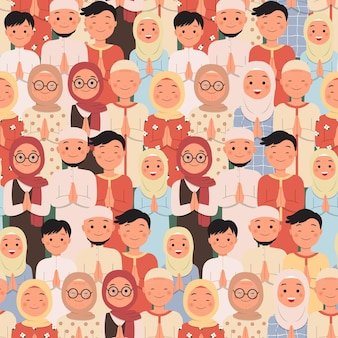 Seamless pattern group of muslim people in greeting pose for islamic holiday celebration.