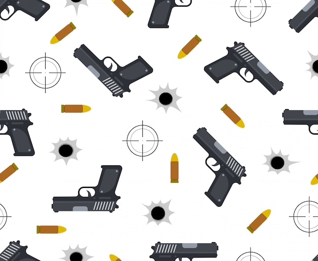 Seamless pattern of gun with bullet and bullet holes