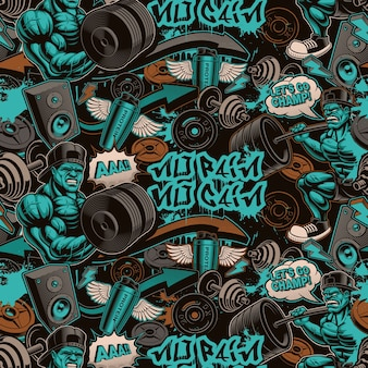 Seamless pattern for gym in graffiti style with cartoony characters and design elements.