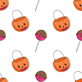 Seamless pattern of halloween candy