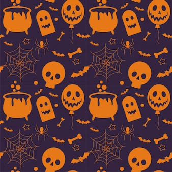 Seamless pattern of  halloween and element