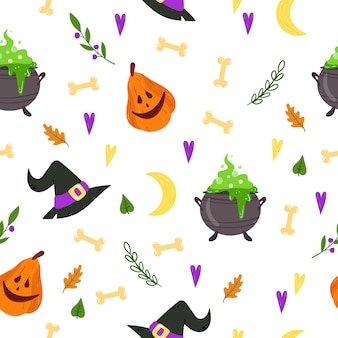 Seamless pattern for halloween. endless texture for web page background, wrapping paper, cards, invitations.