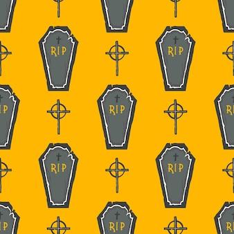 완벽 한 패턴입니다. 관과 십자가 할로윈 패턴입니다. 지문, 전단지, 배너, 초대장, 스크랩북 인사말, 축하 등에 적합합니다. 벡터 할로윈 그림입니다.
