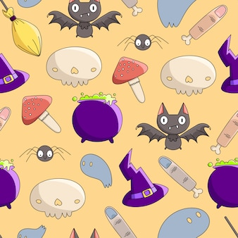 Seamless pattern of halloween witches set (witches hat, broom, potion pot, mushroom, skull, fingers, bat, spider).