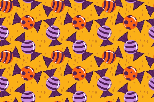 Seamless pattern for halloween with candies lollipops vector illustration in cartoon style