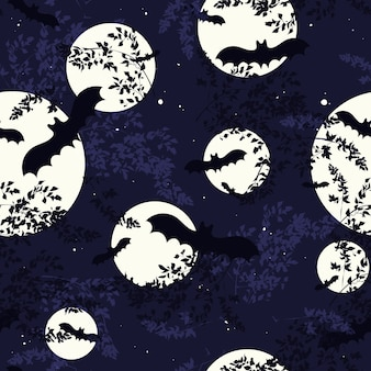 Seamless pattern for halloween with moon, night sky and bats silhouettes.