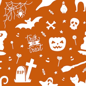 Seamless pattern for halloween with pumpkin.