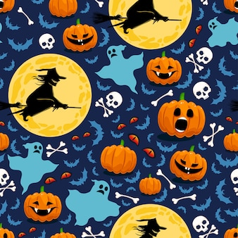 Seamless pattern for halloween with pumpkins, witches and ghosts