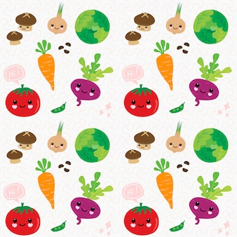 Seamless pattern hand draw cute vegetables.