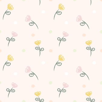 Seamless pattern hand draw yellow and pink flower.