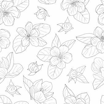 Seamless pattern of hand-drawn apple blossom