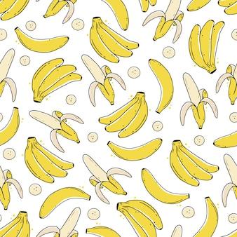 Seamless pattern of hand drawn banana fruit.