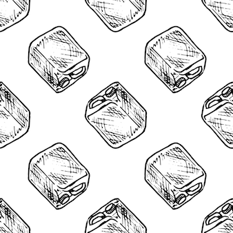 Seamless pattern hand drawn canister doodle. sketch style icon. decoration element. isolated on white background. flat design. vector illustration.