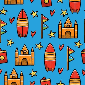 Seamless pattern of hand drawn cartoon beach doodle