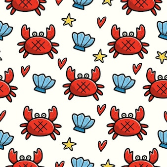 Seamless pattern of hand drawn cartoon crab doodle