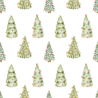 Seamless pattern of hand drawn christmas trees with decorations