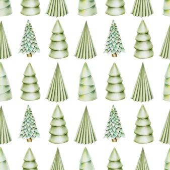 Seamless pattern of hand drawn christmas trees