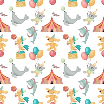 Seamless pattern of hand drawn circus animals (dog, horse, koala, seal)