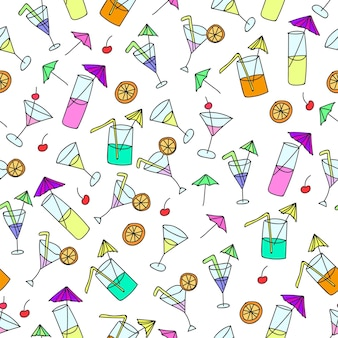 Seamless pattern of hand drawn cocktails on a white background