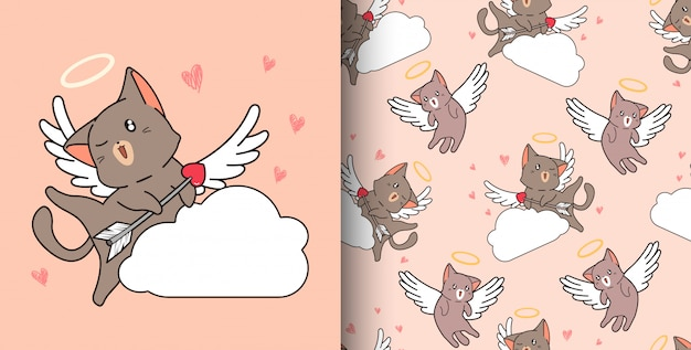 Seamless pattern hand drawn cupid cat is holding arrow on cloud