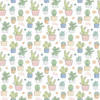 Seamless pattern hand drawn cute cactus