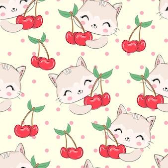 Бесшовный фон рисованной милый кот и ягоды вишни