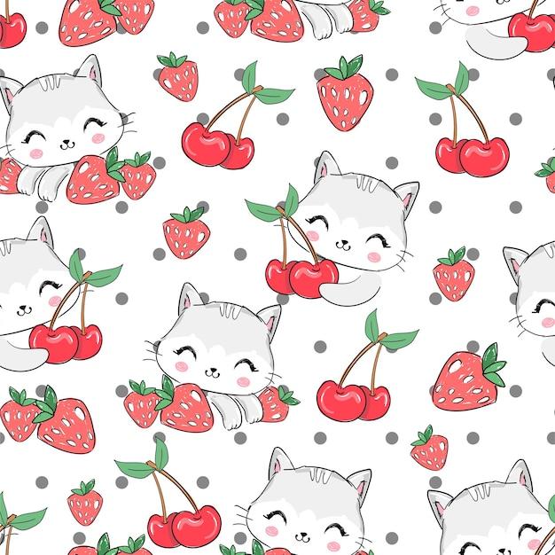 Бесшовный фон рисованной милый кот и ягоды клубники и вишни