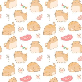 원활한 패턴 손으로 그린 귀여운 고양이 배경