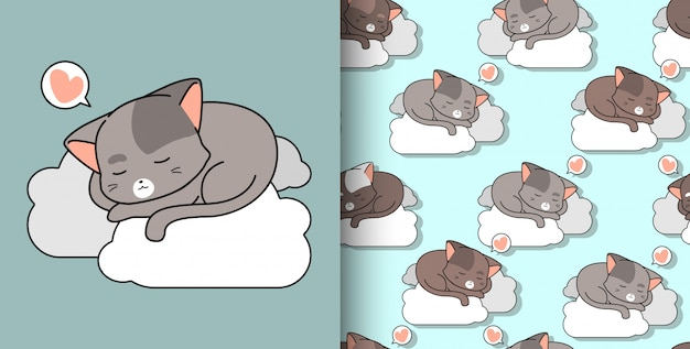 Seamless pattern hand drawn cute cat is sleeping on cloud