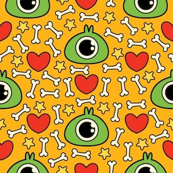 원활한 패턴 손으로 그린 귀여운 괴물 만화 낙서 그림