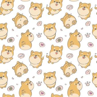 Seamless pattern hand drawn cute shiba dog