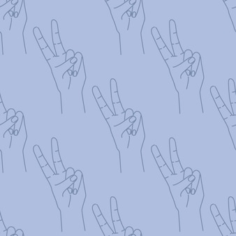 Seamless pattern of hand drawn doodle sketch peace sign. silhouette contour on a blue background. expression gesture. ed for textile, wrapping paper, fabric print.  illustration.
