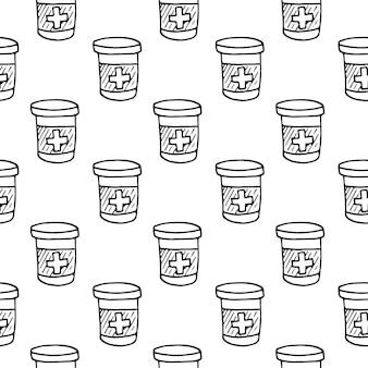 シームレスなパターンの手描きの薬瓶とタブレットの落書き。スケッチスタイルのアイコン。装飾要素。白い背景で隔離。フラットなデザイン。ベクトルイラスト。