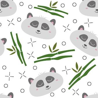 원활한 패턴 손으로 그린 팬더의 얼굴입니다. 어린이 의류에 대 한 배경입니다. 팬더 패턴