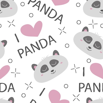 Seamless pattern hand-drawn faces of pandas. background for children clothing. i love panda pattern