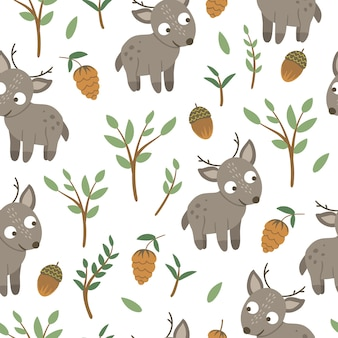 Seamless pattern of hand drawn flat funny baby deer with acorns, cones, mushrooms and twigs.